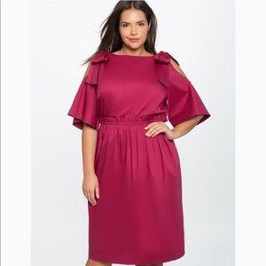 Eloquii Bow Tie Cold Shoulder Maroon Dress Size 20